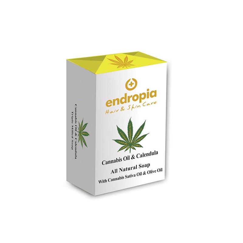 Φυσικό σαπούνι με έλαιο κάνναβης και καλέντουλα. Δεν δοκιμάζεται σε ζώα. Cannabis Oil Soap με Καλέντουλα, Endropia