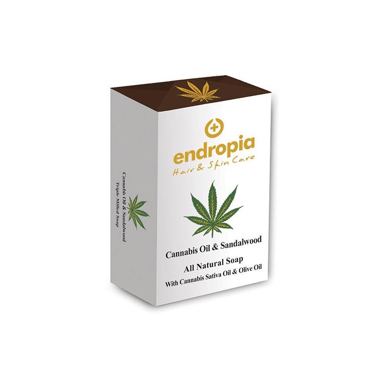 Φυσικό σαπούνι με έλαιο κάνναβης και σανταλόξυλο. Δεν δοκιμάζεται σε ζώα. Cannabis Oil Soap με Σανδαλόξυλο, Endropia
