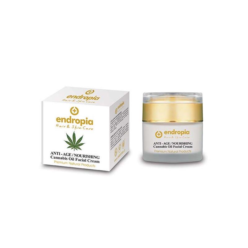Aντιγηραντική κρέμα προσώπου με έλαιο κάνναβης. Δεν δοκιμάζεται σε ζώα. Anti-age / Nourishing Cannabis Oil Facial Cream, Endropia