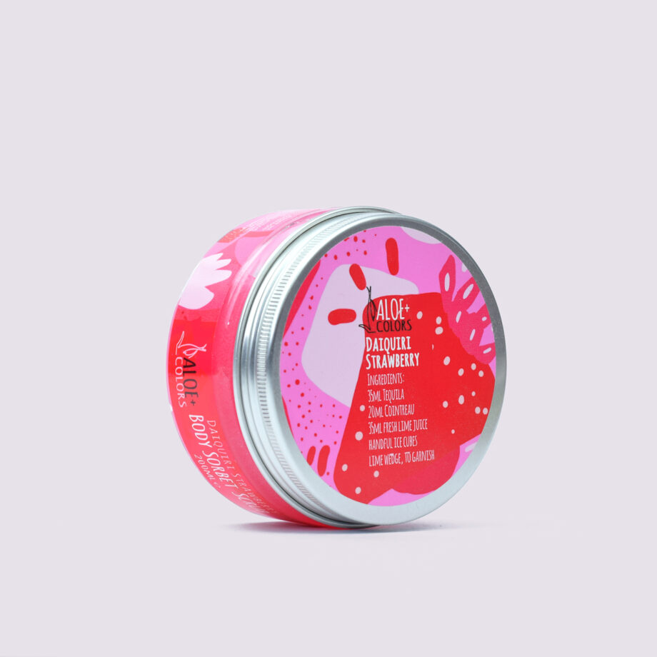 Daiquiri Strawberry Sorbet Scrub για το σώμα Aloe+Colors με βιολογική αλόη. Daiquiri Strawberry Sorbet Body Scrub, Aloe+Colors