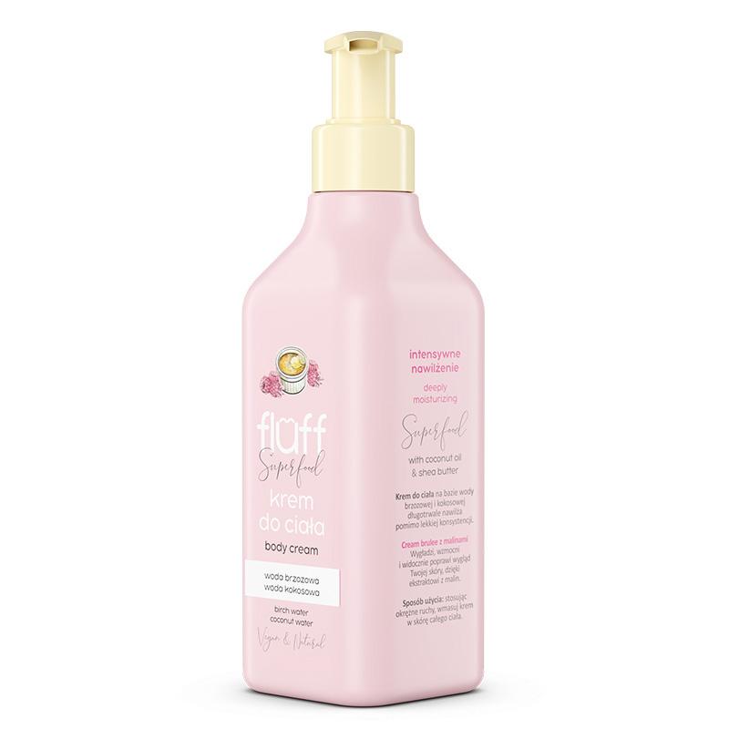 Κρέμα σώματος βαθιάς ενυδάτωσης με άρωμα από το γλυκό creme brulee σε συνδυασμό με βατόμουρα. Fluff Body Cream Creme Brulee & Raspberries
