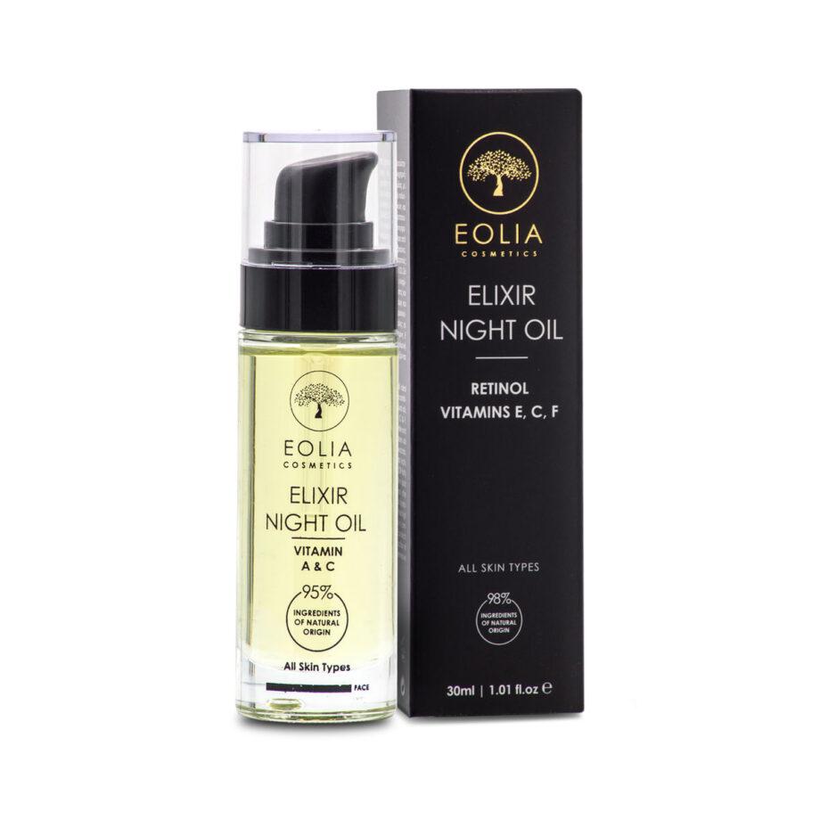 Θρεπτικό λάδι προσώπου ιδανικό για την νυχτερινή περιποίηση της επιδερμίδας Elixir Night Oil Eolia Cosmetics